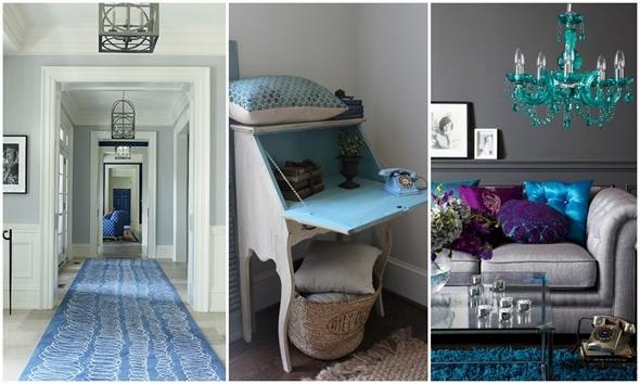 Grijs en blauw interieur